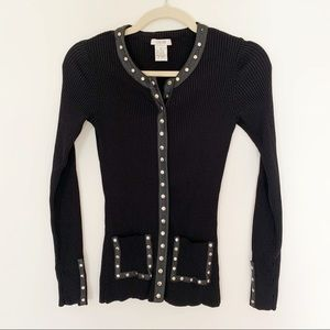 Cache | Studded and Leather Trimmed Top